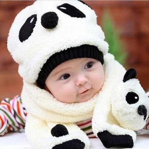 5 Colors Baby Winter Velvet Cartoon Panda Hat +Scarf Sets