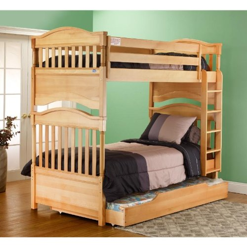 Orbelle Contemporary Bunk Bed Natural Wood front-684864