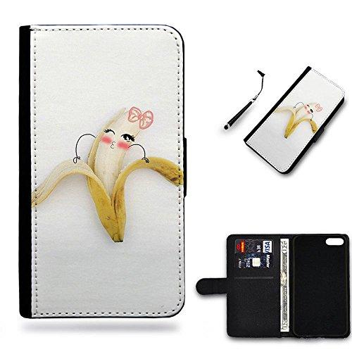 Hot Case Free Stylus // Portafoglio in Pelle Caso Protettiva Custodia Coperchio Slot Copertura Samsung Galaxy S4 i9500 / Cute pinky banana girl peeling /