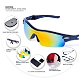 RIVBOS Polarized Sports Sunglasses Sun Glasses with 5 Interchangeable Lenses for Men Women Cycling Baseball RB0805