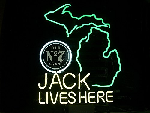 "New Jack Daniels Lives Here Michigan Whiskey Neon Light Sign Home Beer Bar Pub Recreation Room Game Room Windows Garage Wall Sign 17w""x 14""h"