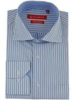 Gino Valentino Mens Striped Dress Shirt Cotton Spread Collar Barrel Cuff