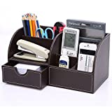 KINGOM? 7 Storage Compartments Multifunctional PU Leather Office Desk Organizer,Desktop Stationery Storage Box Collection, Business Card/Pen/Pencil/Mobile Phone /Remote Control Holder Desk Supplies Organizer (Full Brown Leather)