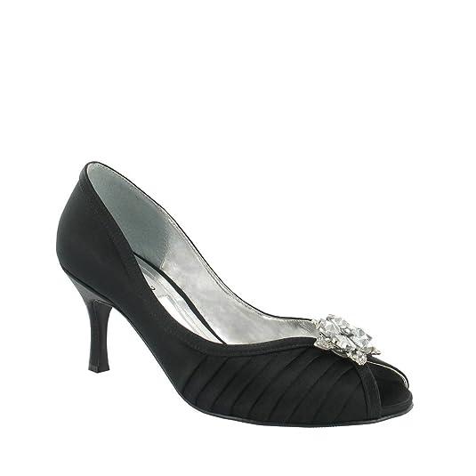 Fashion Review Peep Toe avec grand garniture avec des strass.
