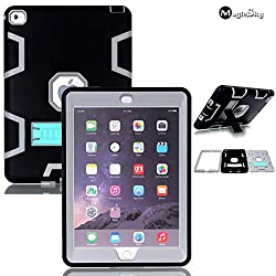 iPad 6 Case, iPad Air 2 Case, MagicSky Heavy Duty Armor Apple iPad Case, Full Body High Impact Resistant Rugged Hybrid Layer Defender Shock-Absorption Protective Case Cover with Kickstand for iPad Air 2 iPad 6 (6th Generation) - Pure Grey/Black
