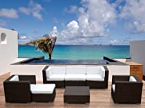 Hot Sale Outdoor Patio Sofa Sectional Wicker Furniture 7pc Resin Couch Set