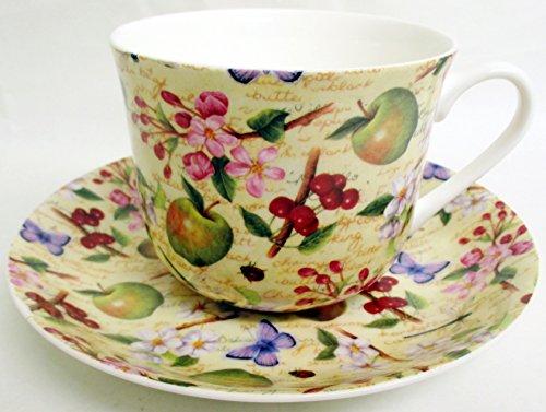 Fruits Fleur Petit Déjeuner Tasse Et Soucoupe en porcelaine anglaise Grand Blossom Crème tasse et soucoupe décoré à la main au Royaume-Uni.