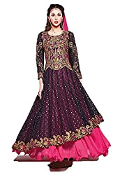 Rangsutra Women's Heavy Faux Gorgette Semi Stitched Salwar Suit_Pink