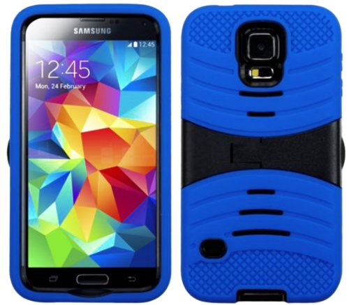 Mylife (Tm) Royal Blue And Dark Stealth Black - Shockproof Survivor Series (Built In Kickstand + Easy Grip Ridges) 2 Piece + 2 Layer Case For New Galaxy S5 (5G) Smartphone By Samsung (Internal Flex Silicone Bumper Gel + Internal 2 Piece Rubberized Fitted