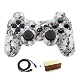 Molgegk Wireless Bluetooth Controller Compatible for Playstation 3 PS3 Double Shock - Bundled with USB Charge Cord (White)   (Color: White Skull)