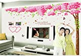 Oren Empower (3pc/set) Pink Decorative Tree PVC Vinyl Extra Large Wall Sticker