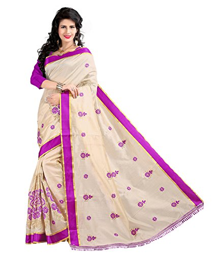 Yashoda Textile Purple Color Chanderi Silk Embrodired Sarees With Un-Stitched Blouse Piece (1y.s_525_Purple)