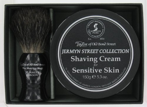 Shaving Gift Set (ToBS2) – Shaving Cream For Sensitive Skin & Badger Hair Brush From Taylors Of Old Bond Street
