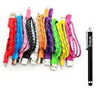 Costyle 10pcs/lot Colorful Ruggedized Braided Fabric/Sleeved 3Ft Feet 1M Meters Micro USB 2.0 Data Sync Charging Cable Cord For Samsung Galaxy Note,s2, s3, nokia, blackberry, htc, sony xperia smartphones -Black White Pink Hot Pink Purple Blue Yellow Green Red Orange
