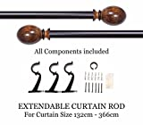 Deco Window Curtain Rod Oval Brown Matt