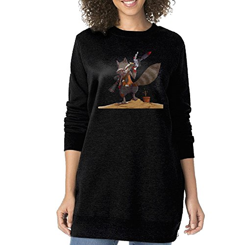 Guns Out Rocket Raccoon Women's Fashion Long Sleeve Round Neck Hoodie