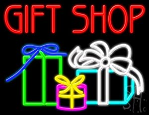 "Amazon.com: Gift Shop Neon Sign 24"" Tall x 31"" Wide x 3"" Deep: Office"