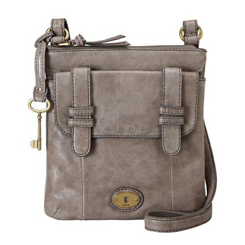 Womens Leather Handbags FOSSIL WOMEN BAG W CARSON LTHR FLP CRSBDY ASH GREY ZB5055073