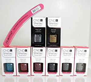 CND Shellac Nail Gel Power Polish Forbidden Fall 2013 Collection with Base & Top & One Free Nail Buffer