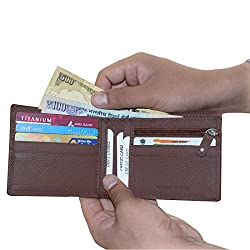 Brown Unisex Leather Wallets with 6 Credit Card Holder