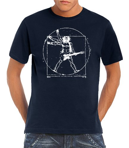 Touchlines - T-Shirt Da Vinci Rock Guitar, T-shirt da uomo, Blu (Navy), L