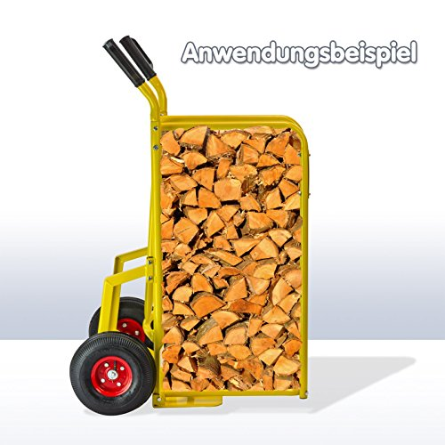 Dema-Sackkarre-Wagen-Stechkarre-fr-Brennholz-Traglast-150-kg-Gelb