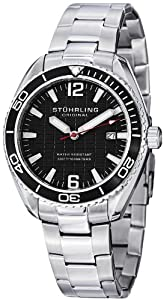 Stuhrling Original Regatta 515 Men's Quartz Watch with Black Dial Analogue Display and Silver Stainless Steel Bracelet 515.02