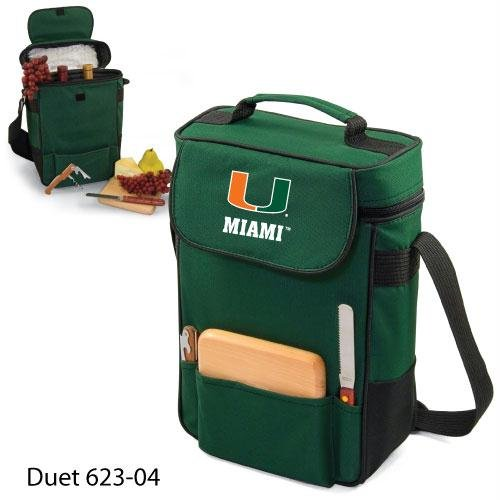 Ncaa Miami Hurricanes Duet Insulated Wine And Cheese Tote With Team Logo front-633946