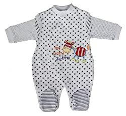 Gorgeous Cotton Baby Boys/Girls Zebra Embroidered Star Pattern Babygrow/Romper/Sleepsuit Sizes from born to 6 months -