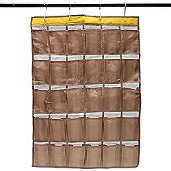 30 Pockets Door Home Wall Closet Hanging Organizer Storage Bag Phones Holder (Coffee)