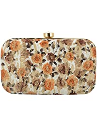 Tooba Women's Clutch (White, Brown Printed Foam Rose 6x4)