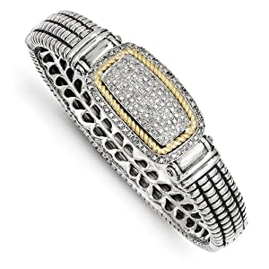 Genuine IceCarats Designer Jewelry Gift Sterling Silver W/14K 1/4Ct. Diamond Bangle Bracelet In 14K/Silver Two-Tone