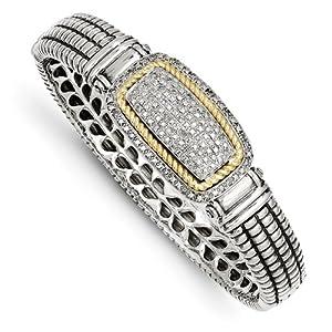 Genuine IceCarats Designer Jewelry Gift Sterling Silver W/14K 1/4Ct. Diamond Bangle Bracelet In 14K/Silver Two-Tone