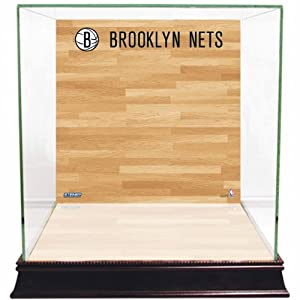 NBA New Jersey Nets Glass Basketball Display Case with Team Logo on Court Background by Steiner Sports