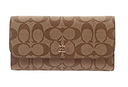 Coach Signature PVC Coated Canvas Checkbook Wallet 52681 Khaki/Saddle