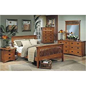 4pc mission style solid wood queen size for Bedroom furniture amazon