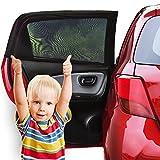 Sonnenschutz Auto Baby (2 Stück) - Sonnenblende Auto mit UV Schutz für Kinder, Hund im Rücksitz - Einfache und schnelle Anbringung an den ganzen Seitenfenster ohne Saugnapf - Sonnenschutz ist dank faltbares Meshmaterial für die meisten PKW Seitenscheiben passgenau