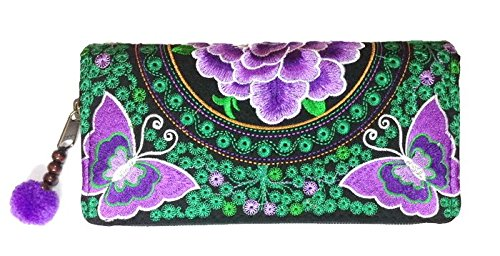 Wallet by WP Embroidery Butterfly Flower Zipper Wallet Purse Clutch Bag Handbag Iphone Case Handmade for Women, Purple Wallet (Cole Haan Key compare prices)