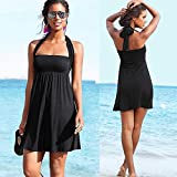 HuntGold Women Lady Sexy Push-up Wrapped Chest Swimming Dress Skirt Swimwear Swimsuit Cover Up Black(Size: XL)