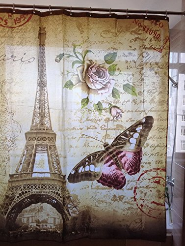 Uphome 72 X 72 Inch Retro Vintage Paris Eiffel Tower Waterproof Kids Bathroom Shower Curtain - Butterfly and Flower Pale Brown Polyester Fabric Bathroom Accessories Home Decoration 2