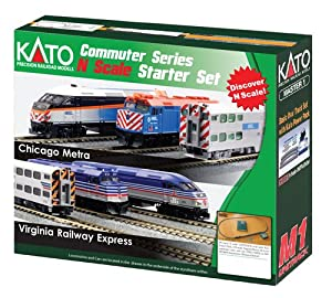 Kato USA Model Train Products N MP36PH and Gallery Bi-Level Commuter Series Chicago Metra UNITRACK Starter Set from Kato USA Model Train Products
