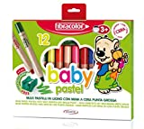 Fibracolor Baby Pastel Wax Crayons Pack of 12 plus Free Sharpner