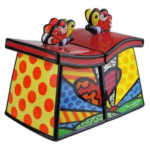 Romero Britto Cookie Jar/canister - A New Day Set Of 2 By Westland