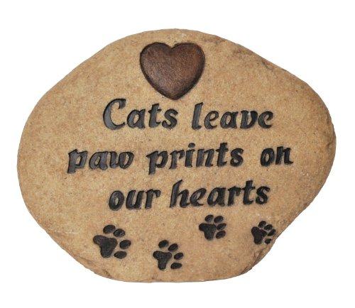 Vivid Arts Leaves Paw Prints Cat Memorial Stone