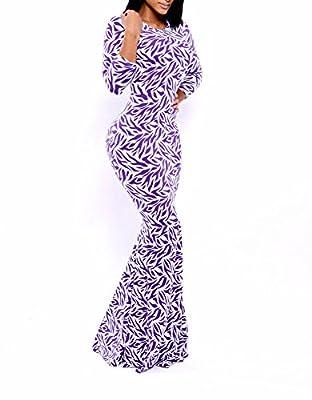 iecool Women'sLong Sexy Evening Banquet Catwalk Print Dress