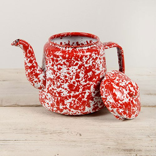 Crow Canyon Home Tea Pot, Red Marble