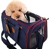 pet bag carrier ペットキャリーバッグ 組み立て・折りたたみが簡単!肩掛けもできる軽量ペットキャリー 折り畳ソフトキャリー かわいいキャリーバッグ お出かけ用品 (ブルー)