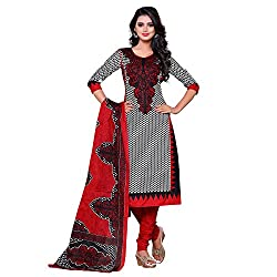 Fabfirki Red and Black Satin Cotton Unstitched Dress Material