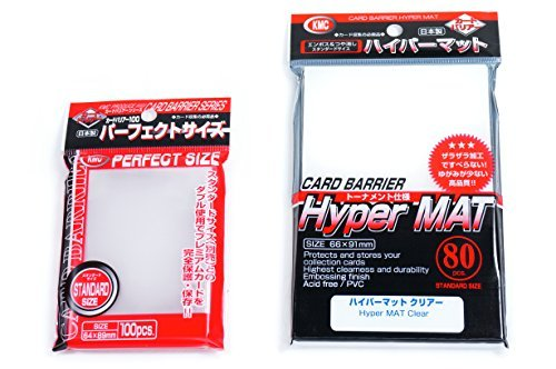 KMC Hyper Mat Sleeve Clear (80-Pack) + 100 Pochettes Card Barrier Perfect Size Soft Sleeves Value Set !