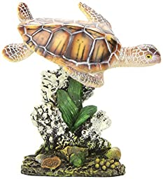 Penn Plax Swimming Sea Turtle Aquarium Decoration, Small